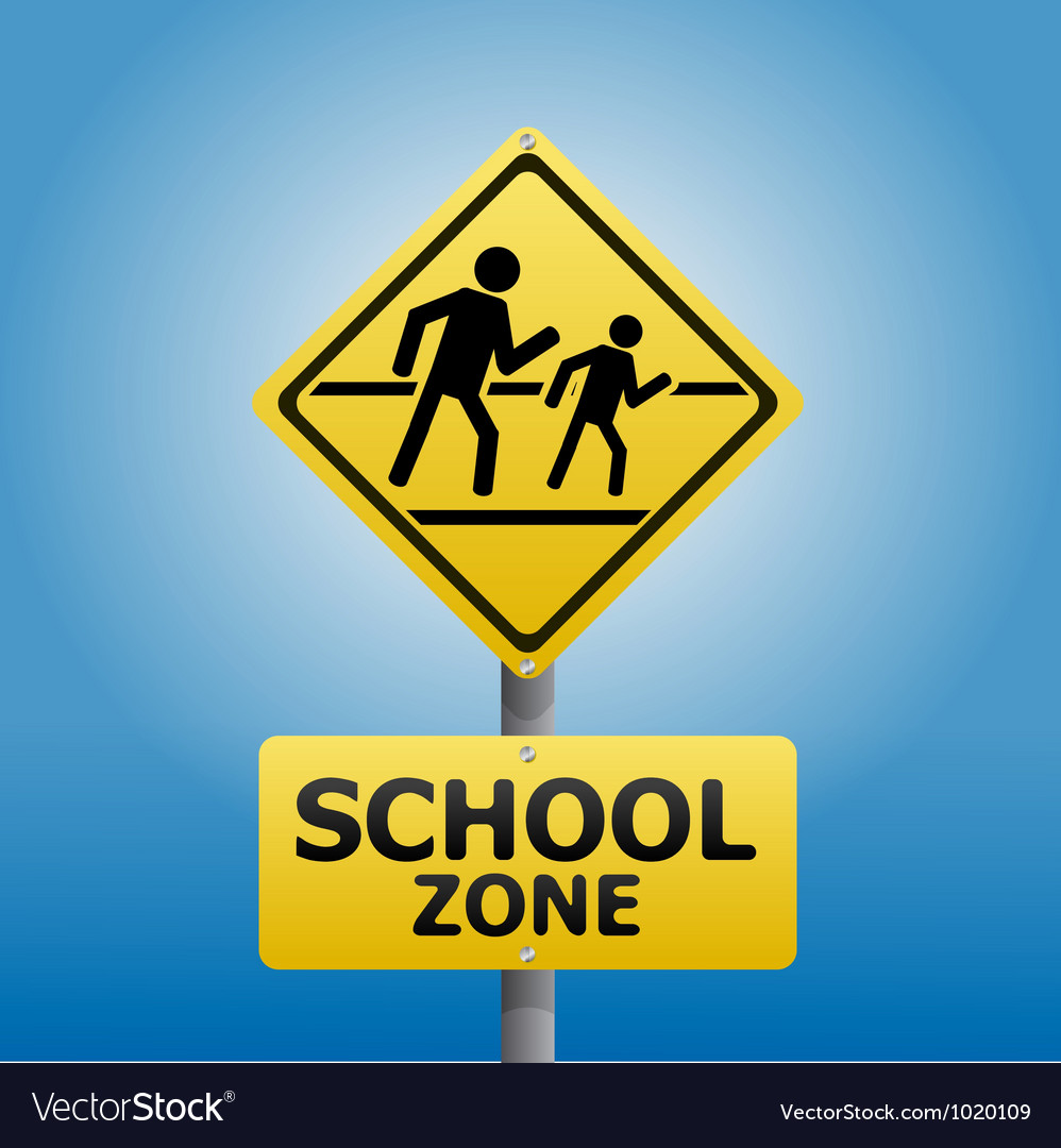 Traffic sign school warning vector | Price: 1 Credit (USD $1)