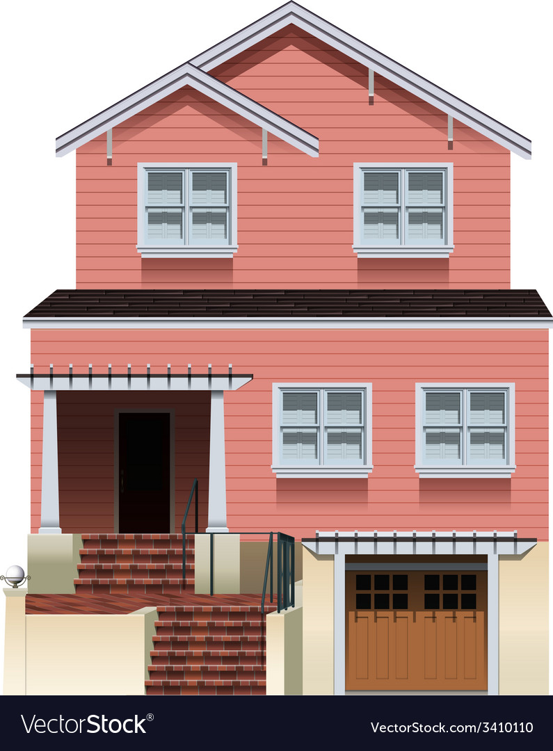 A big pink house vector | Price: 3 Credit (USD $3)