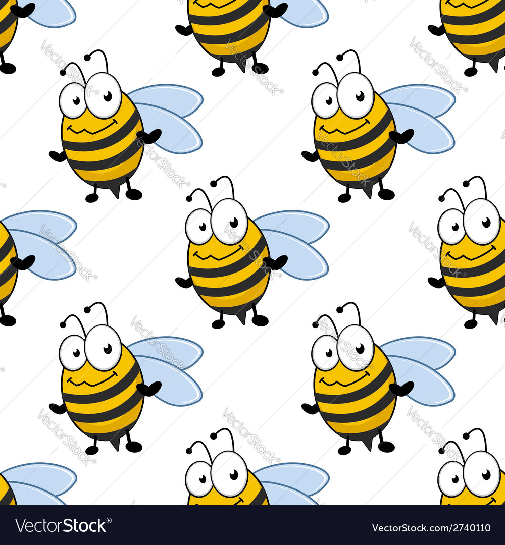 Cartoon smiling bee seamless pattern vector | Price: 1 Credit (USD $1)