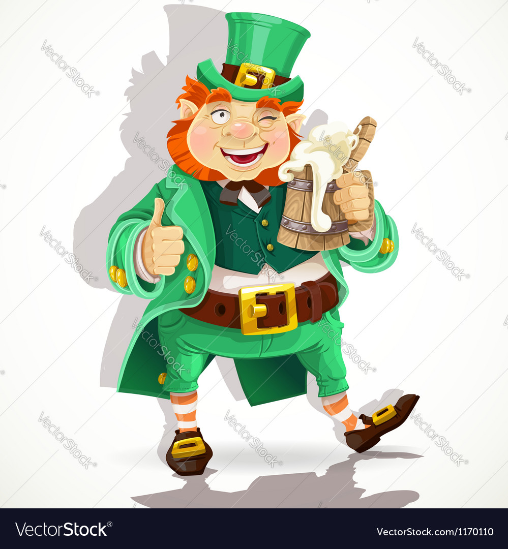 Cute fat leprechaun with a pot of ale froth vector | Price: 1 Credit (USD $1)