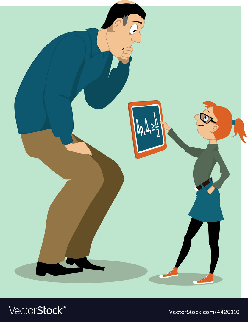 Father helping his daughter with a homework vector | Price: 3 Credit (USD $3)