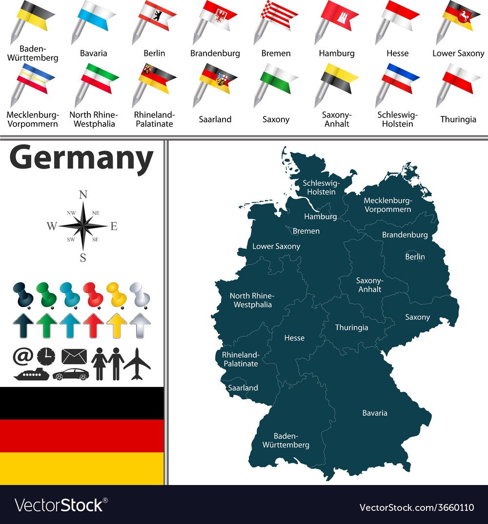 Germany map with flags vector