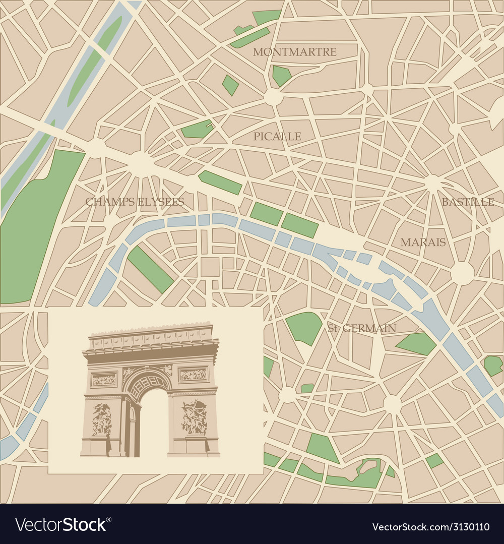 Map of the city of paris and triumphal arch vector | Price: 1 Credit (USD $1)
