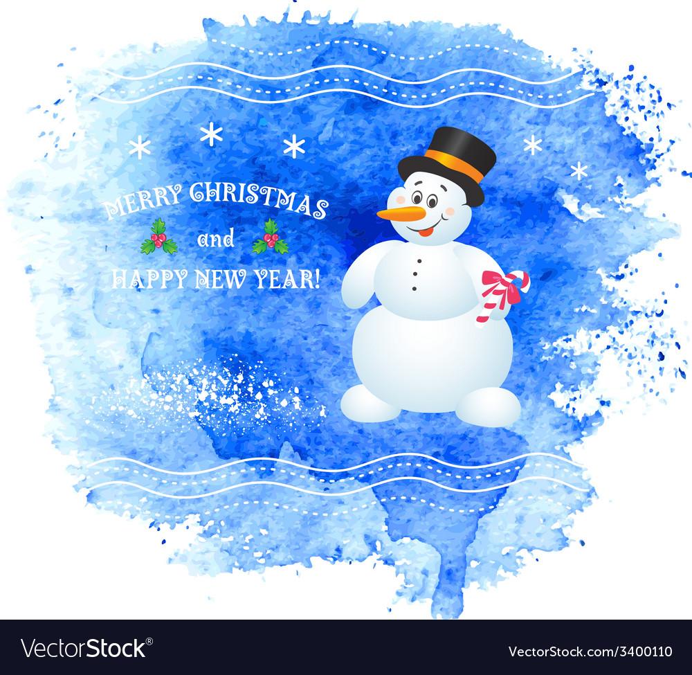 Merry christmas greeting card with snowman vector | Price: 1 Credit (USD $1)