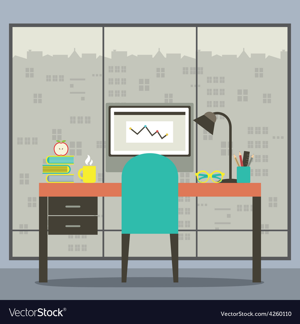 Modern flat design workplace with skyscraper view vector | Price: 1 Credit (USD $1)