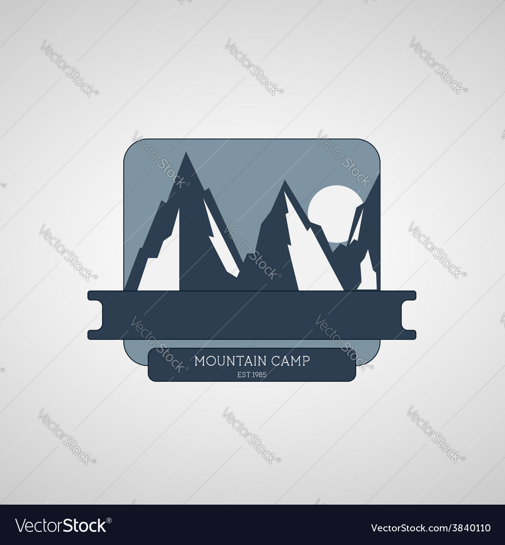 Mountain camping wilderness adventure badge vector | Price: 1 Credit (USD $1)