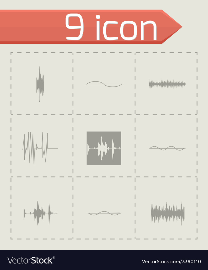 Music soundwave icons set vector | Price: 1 Credit (USD $1)