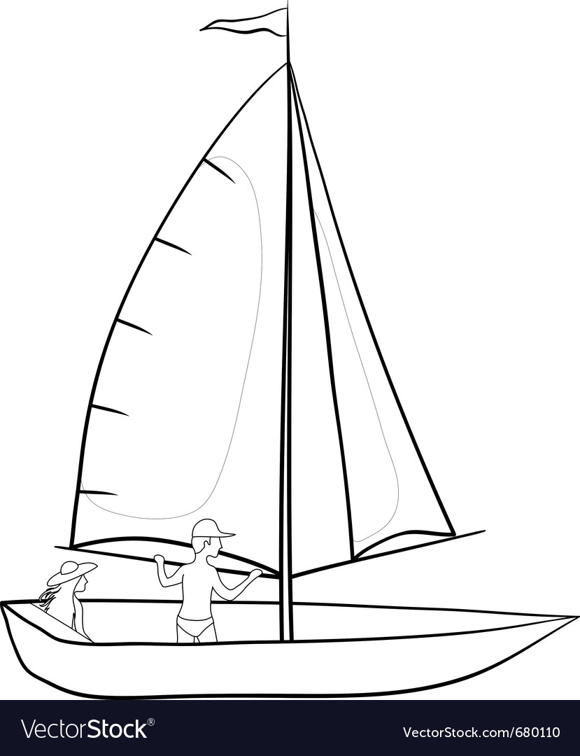 Sailing boat with a people contours vector | Price: 1 Credit (USD $1)