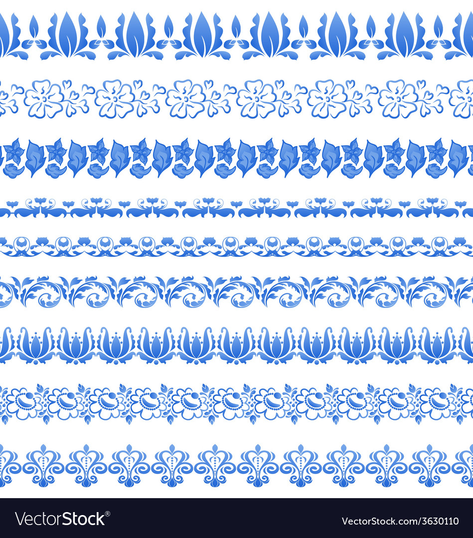 Set floral ornate tracery pattern in gzhel style vector | Price: 1 Credit (USD $1)