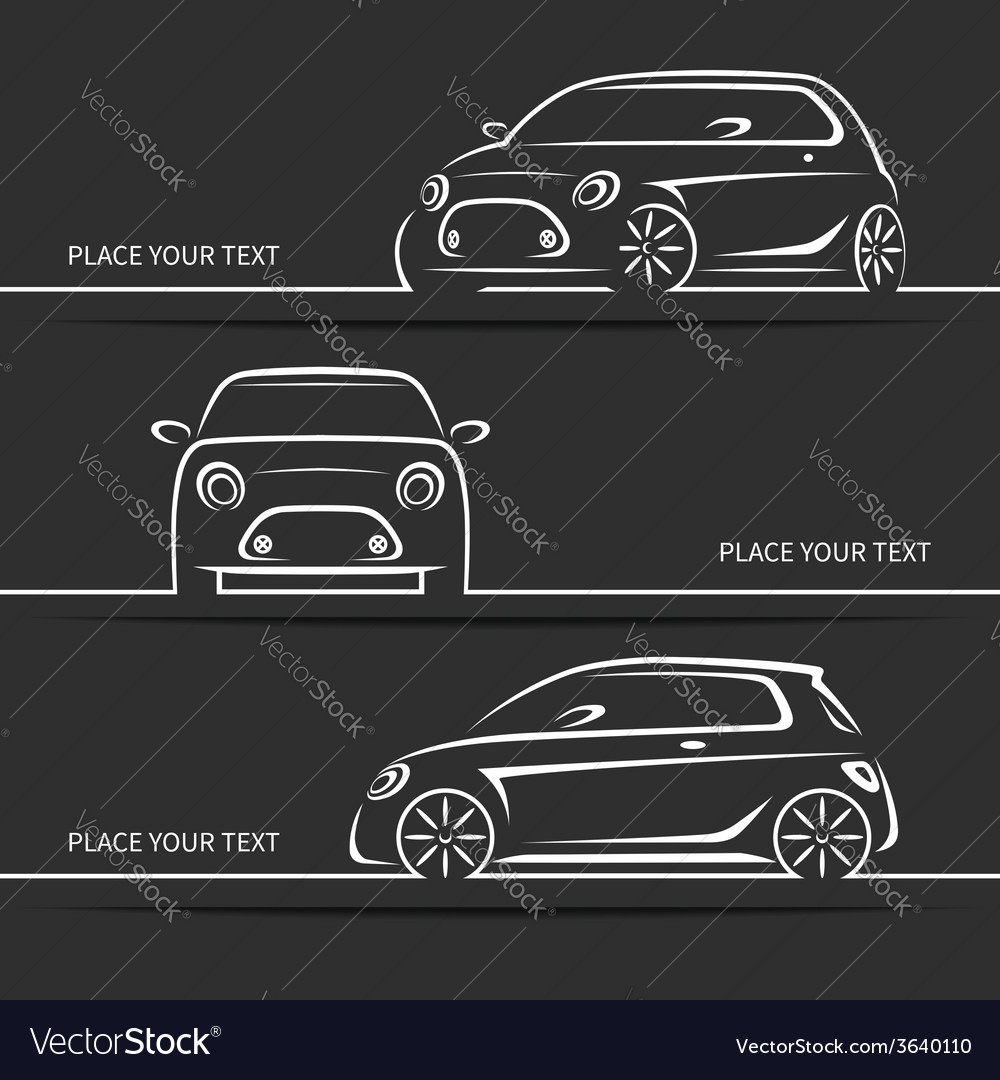 Set of modern car silhouettes vector | Price: 1 Credit (USD $1)