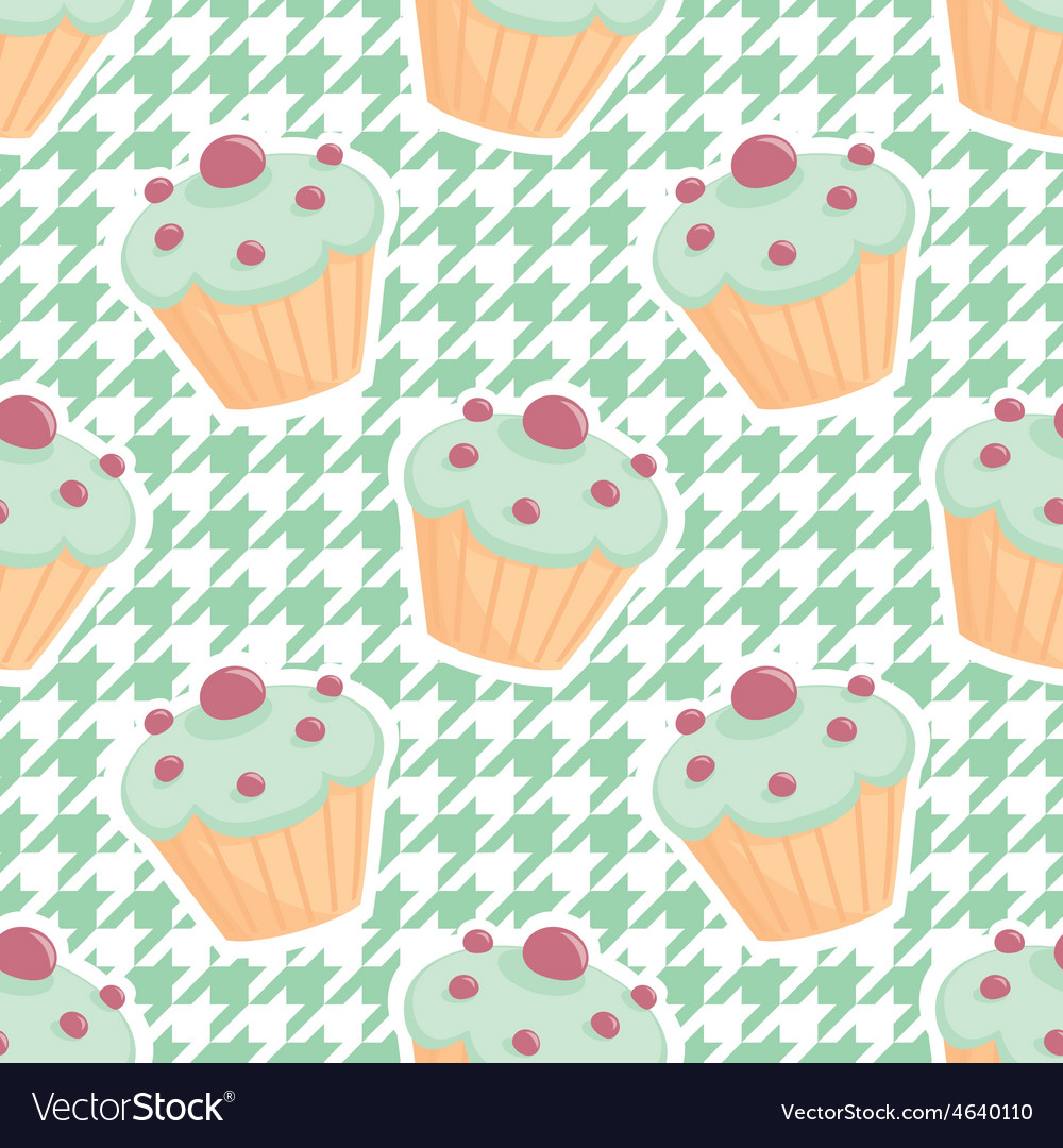 Tile cupcake pattern on mint green houndstooth vector | Price: 1 Credit (USD $1)