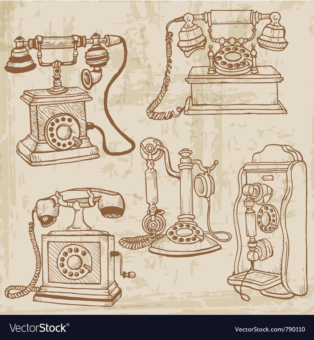 Vintage telephones set vector | Price: 1 Credit (USD $1)
