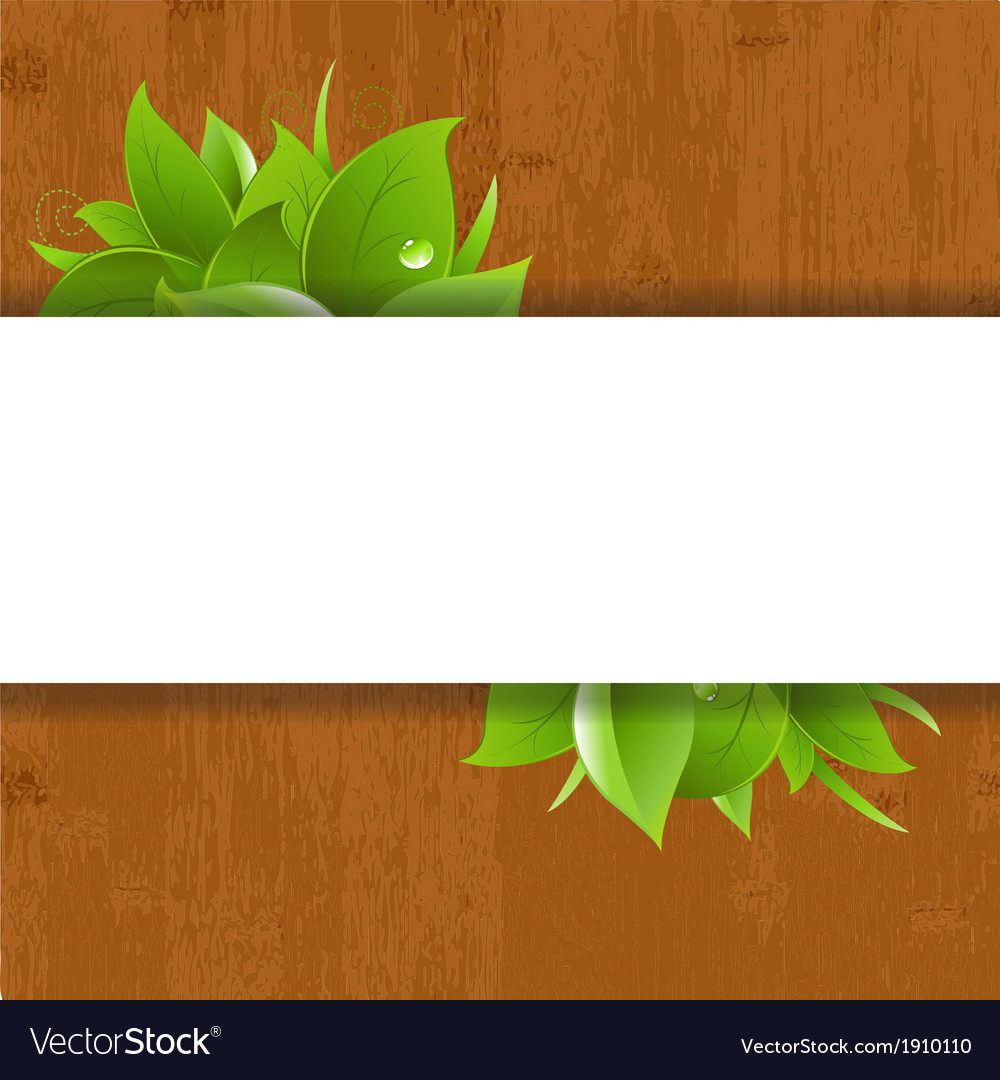Wood background with leaves vector | Price: 1 Credit (USD $1)