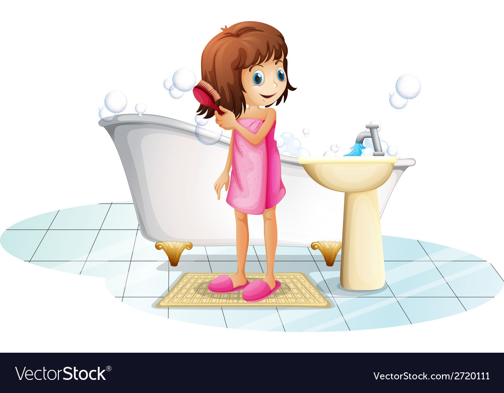 A young girl combing her hair after taking a bath vector   Price: 1 Credit (USD $1)