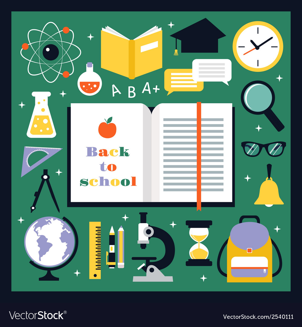 Back to school icons set vector | Price: 1 Credit (USD $1)