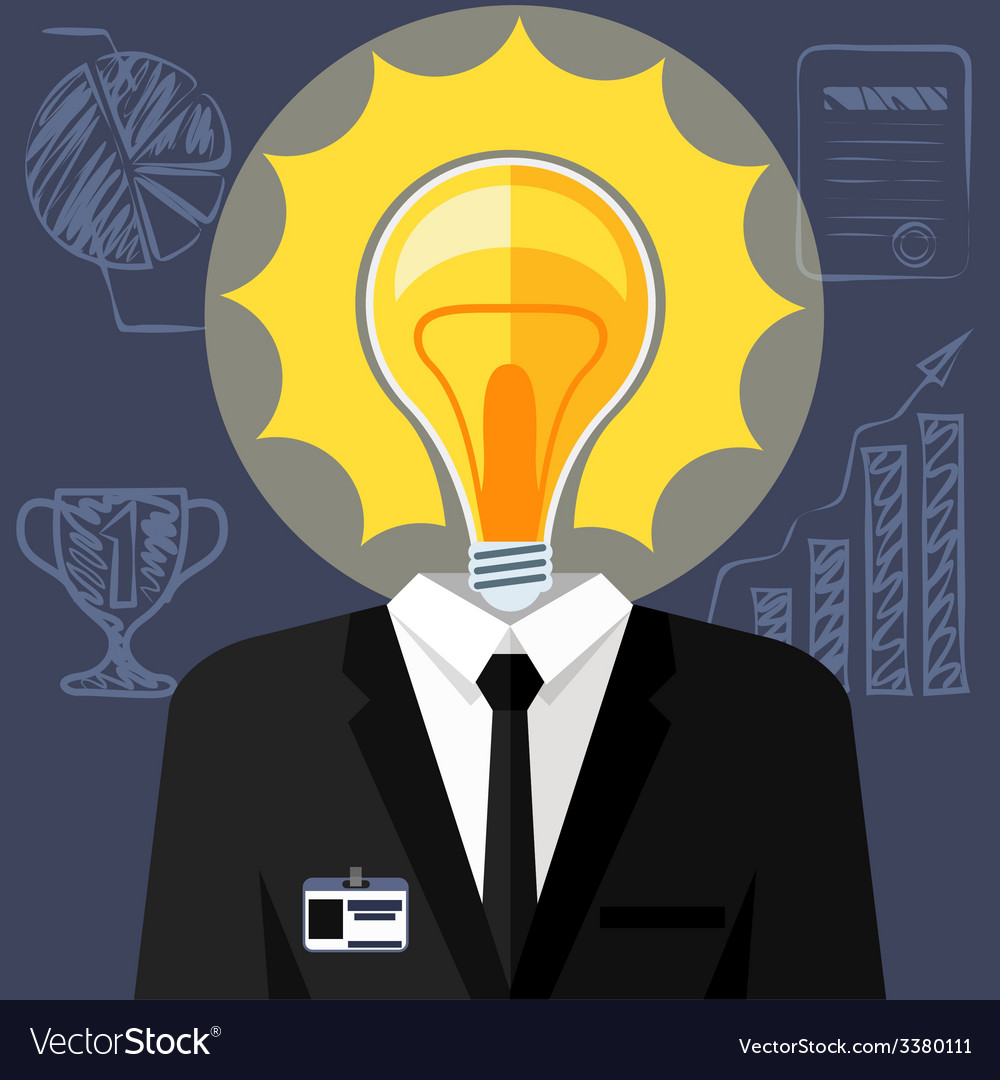 Bulb headed man business man in suit vector   Price: 1 Credit (USD $1)