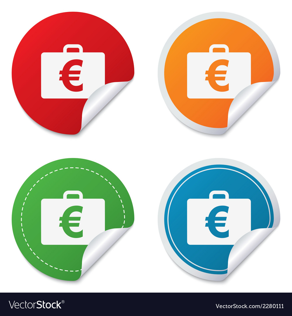 Case with euro eur sign briefcase button vector | Price: 1 Credit (USD $1)