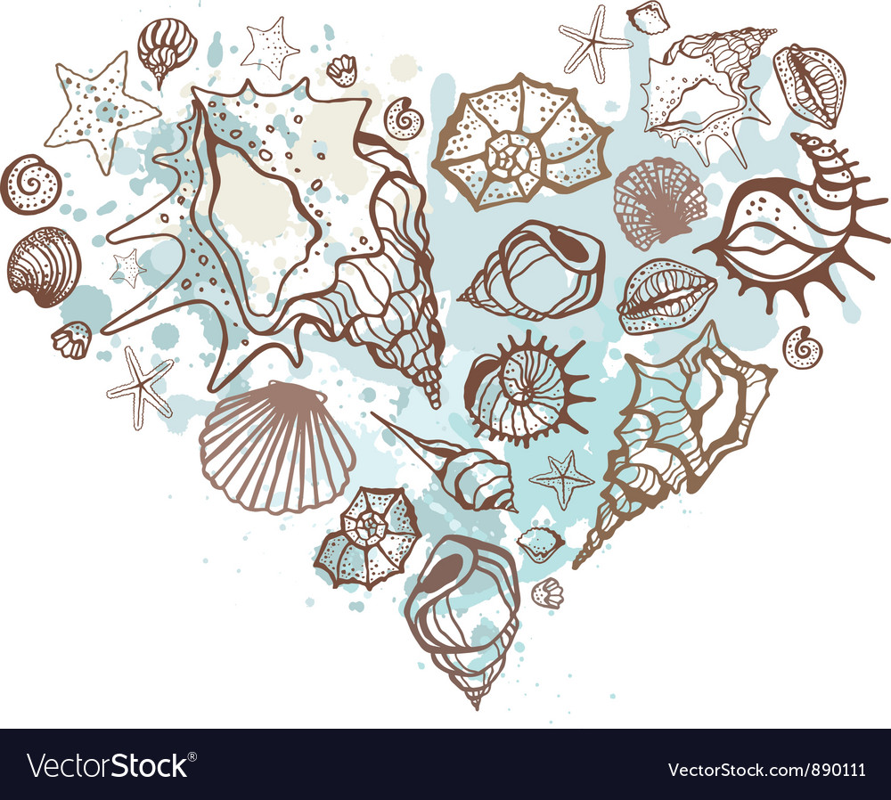 Heart of the shells hand drawn vector | Price: 1 Credit (USD $1)