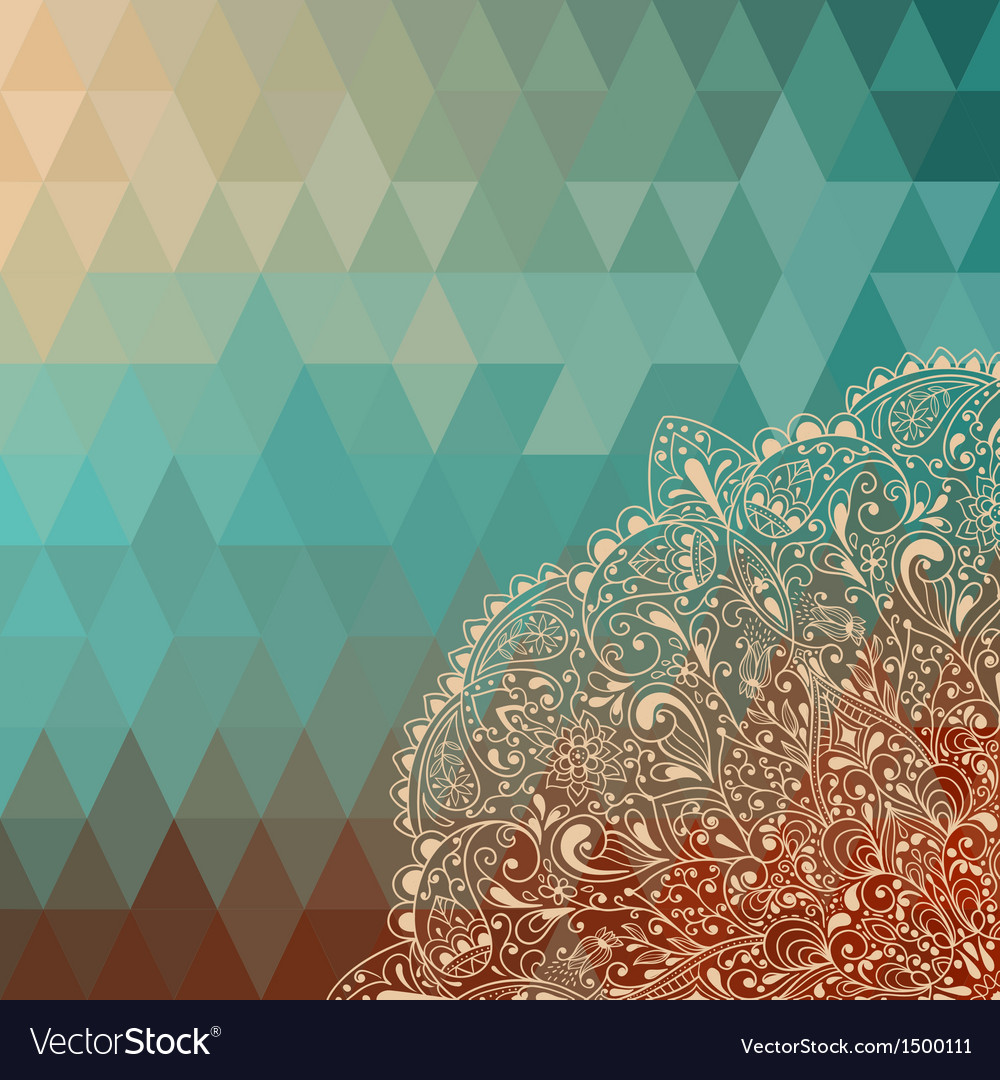 Highly detailed floral pattern on geometric backgr vector   Price: 1 Credit (USD $1)