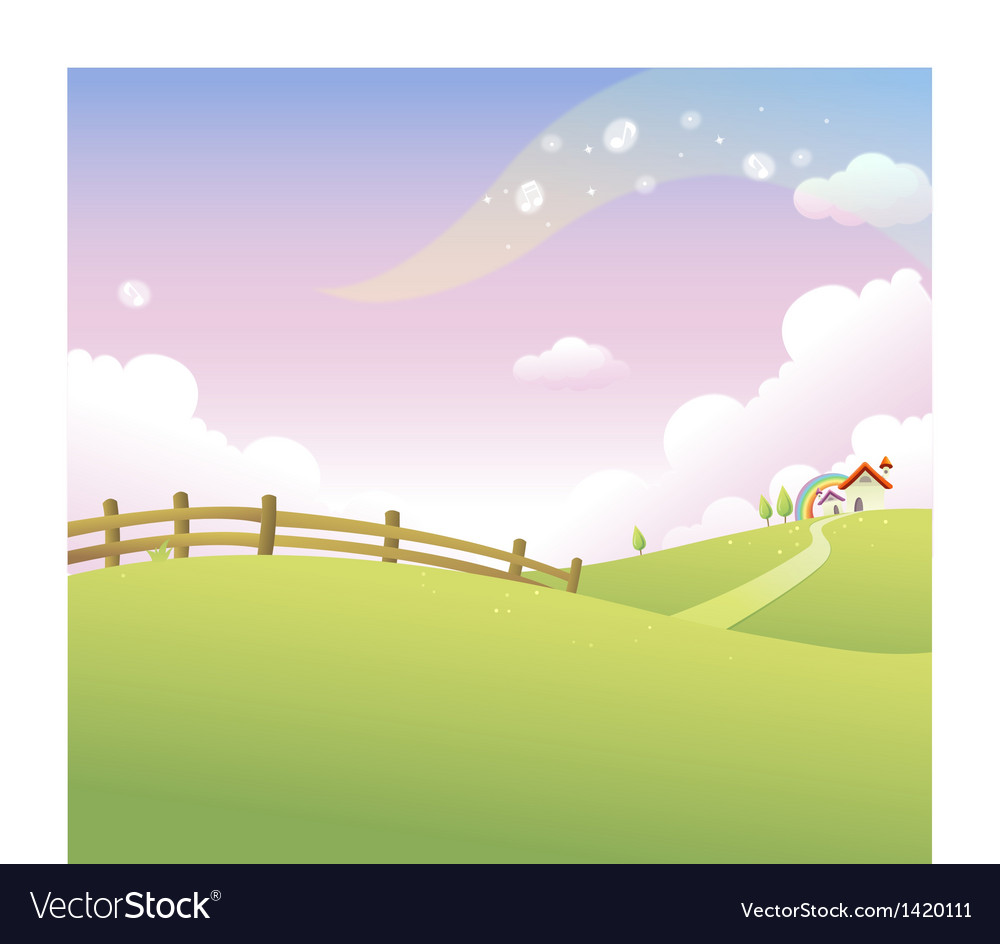 Rolling landscape house vector | Price: 1 Credit (USD $1)