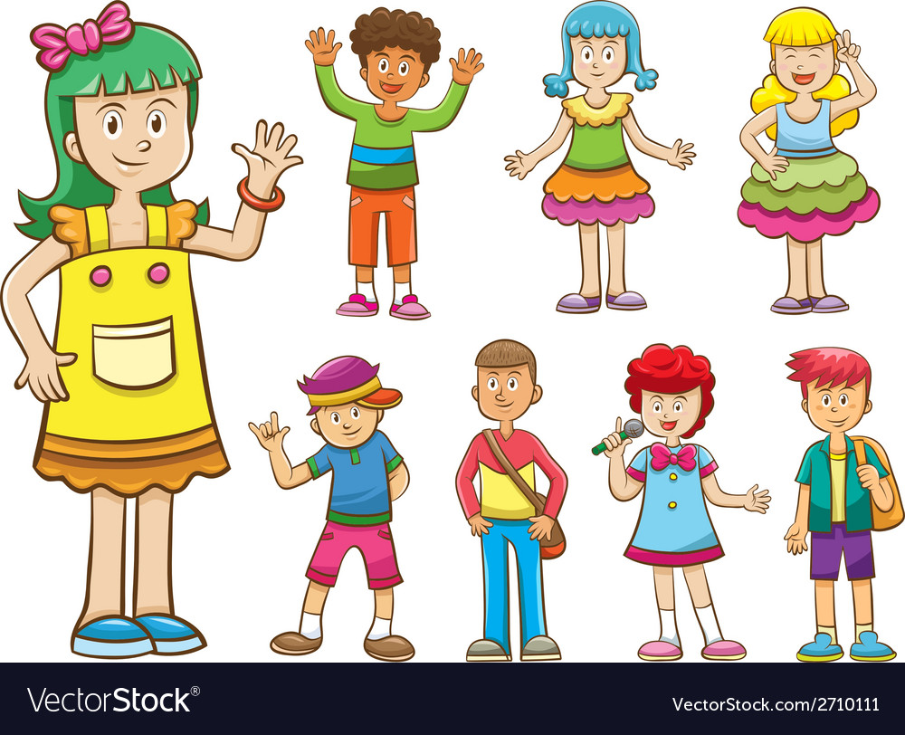 Set of cartoon kids vector | Price: 3 Credit (USD $3)
