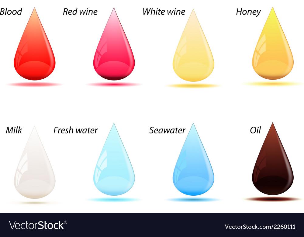 Set of color drops vector