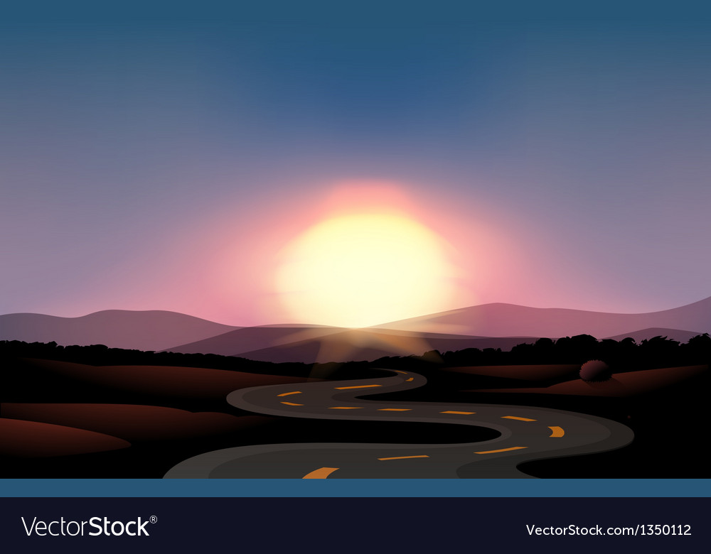 A winding road and the sunset vector | Price: 1 Credit (USD $1)