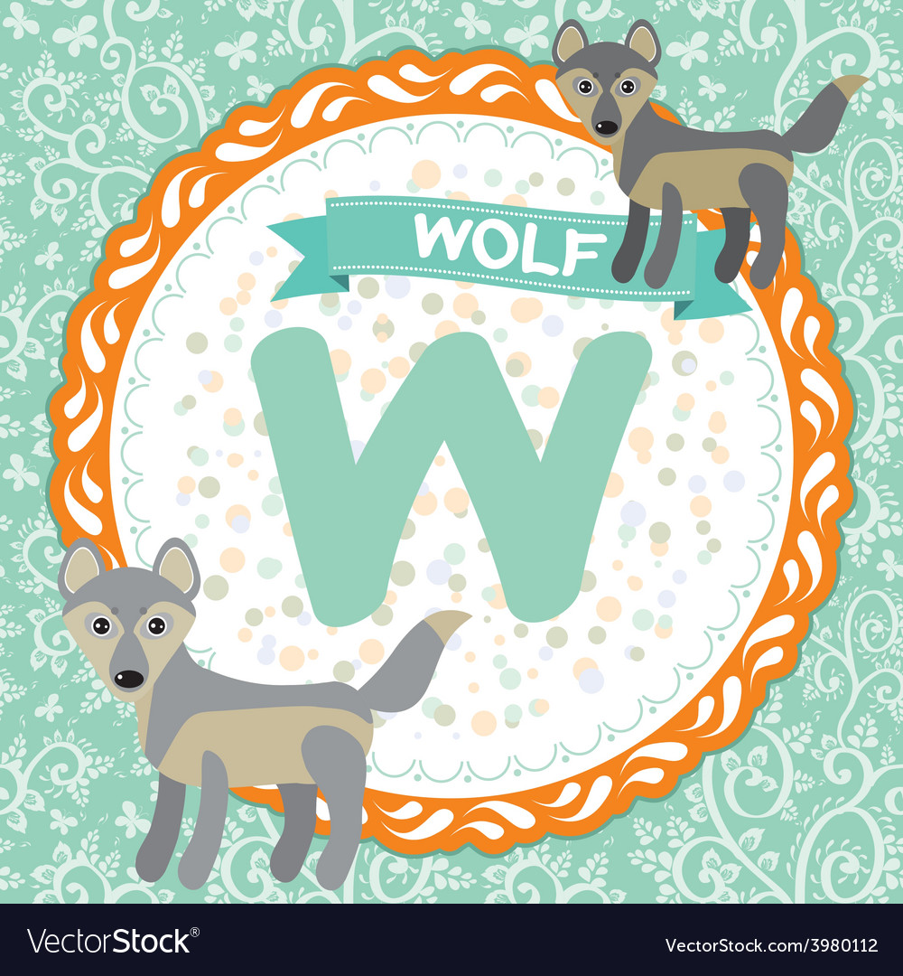 Abc animals w is wolf childrens english alphabet vector | Price: 1 Credit (USD $1)