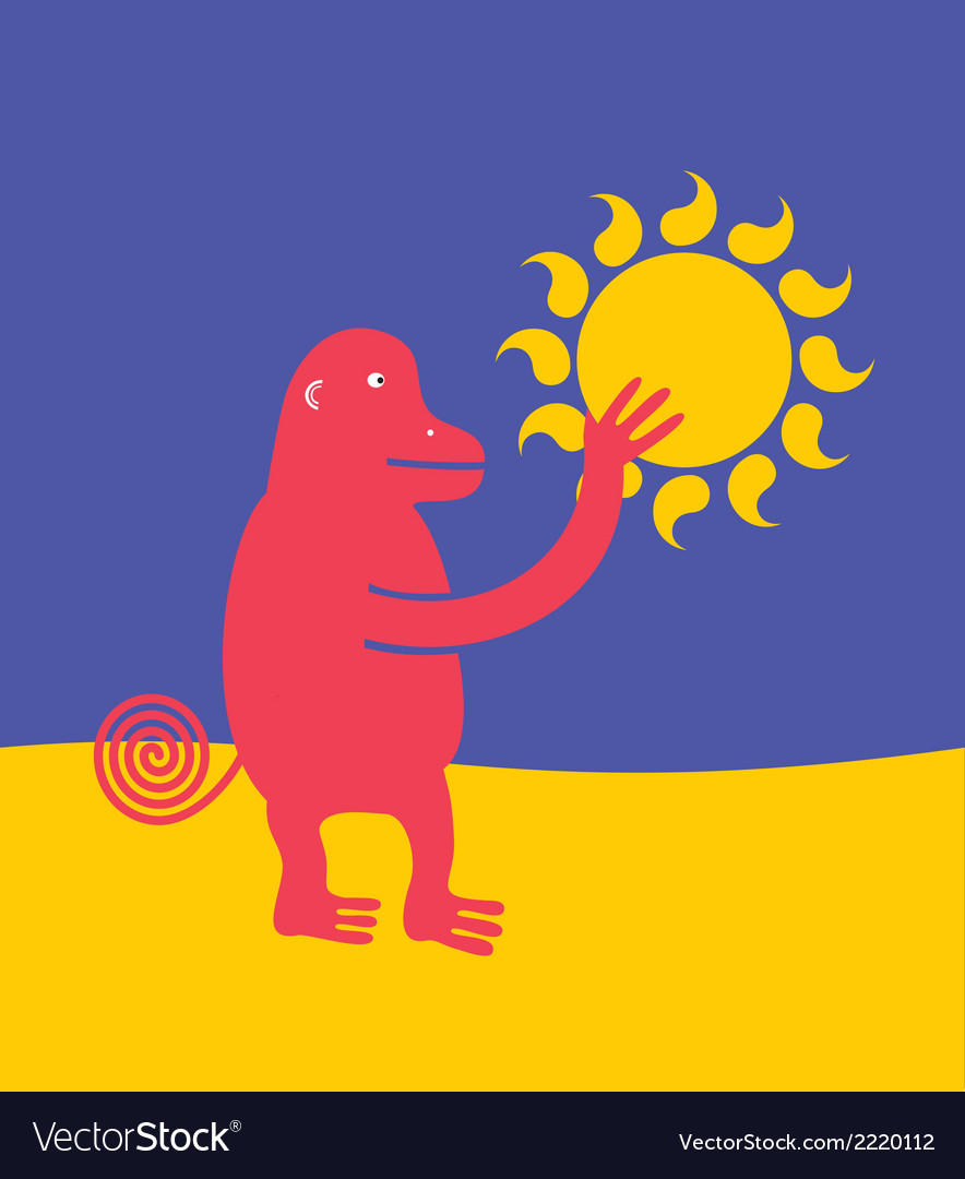 Ape who stole the sun vector | Price: 1 Credit (USD $1)