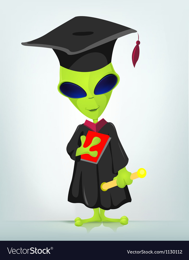 Cartoon graduate alien vector | Price: 1 Credit (USD $1)