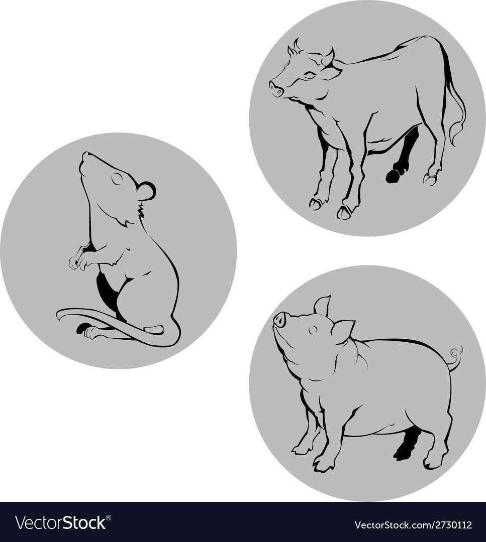 Chinese zodiac ox rat pig vector | Price: 1 Credit (USD $1)