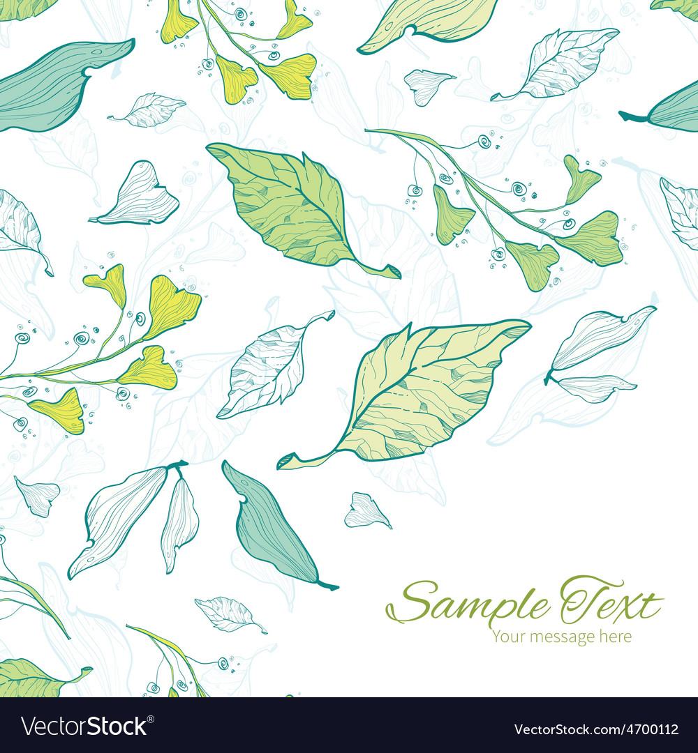 Lineart spring leaves frame corner pattern vector | Price: 1 Credit (USD $1)