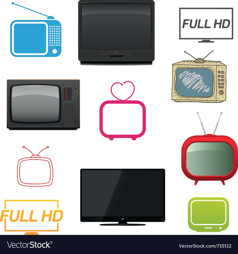 Set of different tv vector | Price: 3 Credit (USD $3)