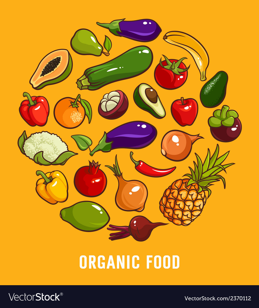 Set of organic food vector | Price: 1 Credit (USD $1)