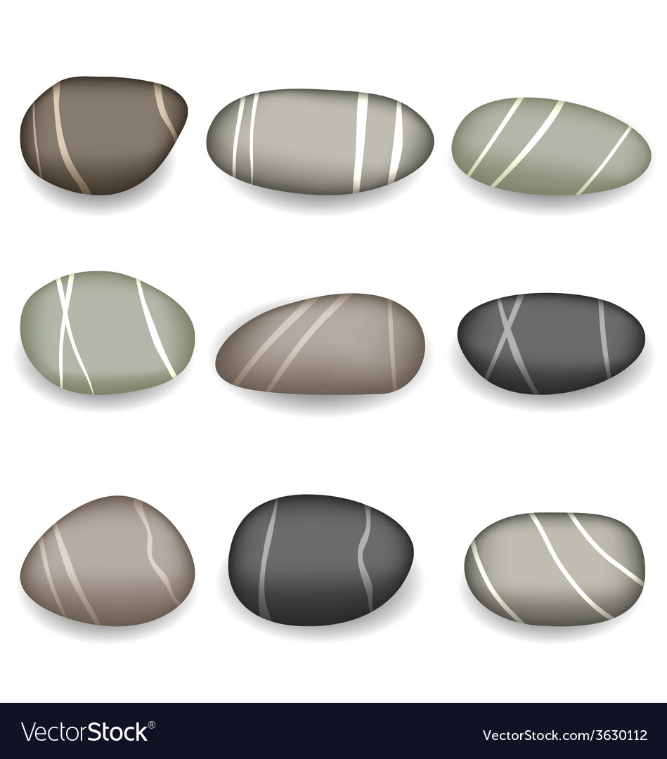 Set sea pebbles with shadows on white background vector | Price: 1 Credit (USD $1)