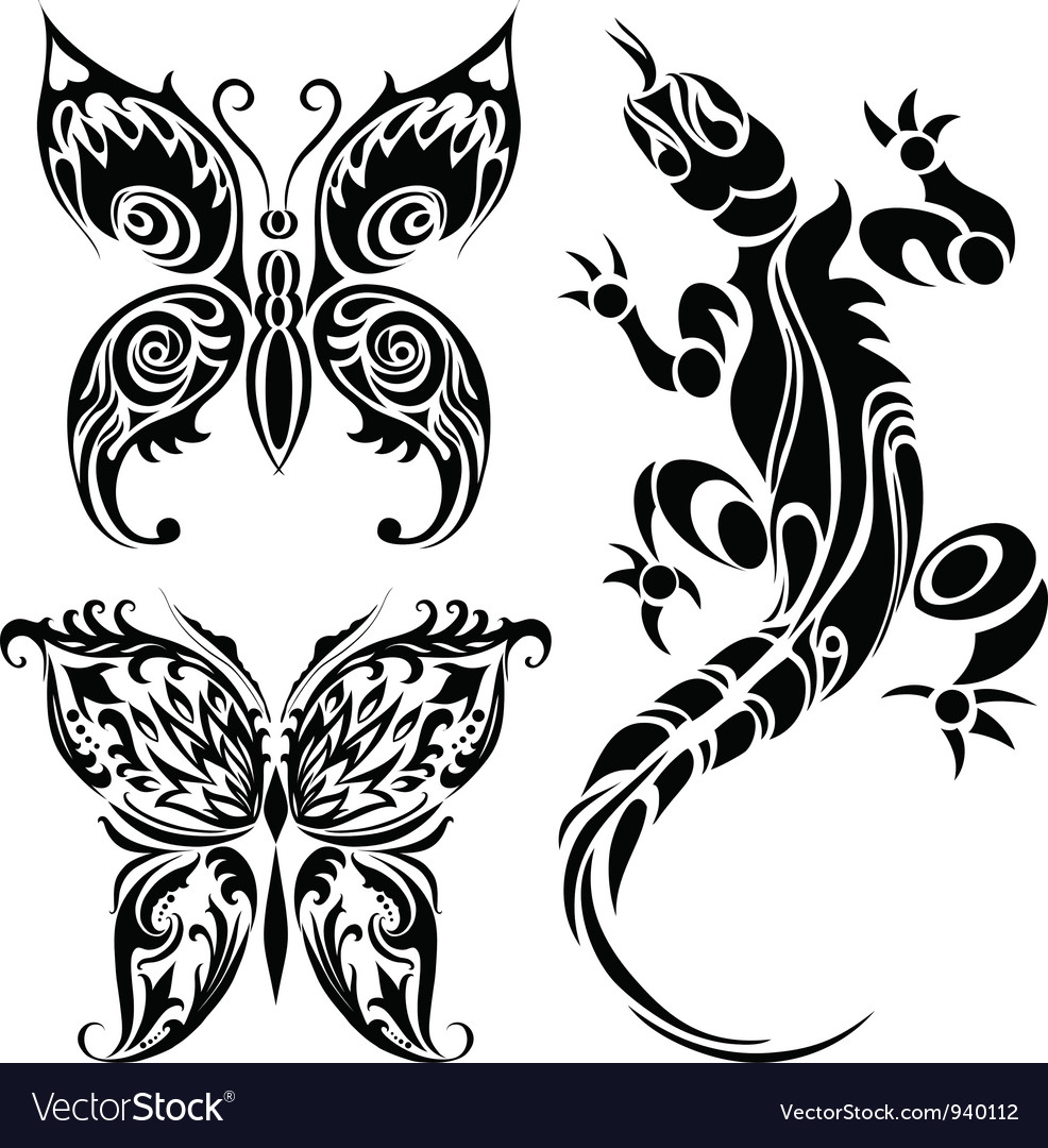 Tattoo drawings of butterflies and lizard vector | Price: 1 Credit (USD $1)