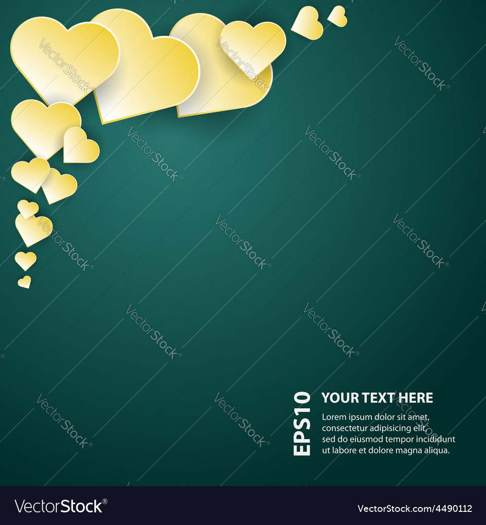 Yellow abstract hearts on dark background vector | Price: 1 Credit (USD $1)