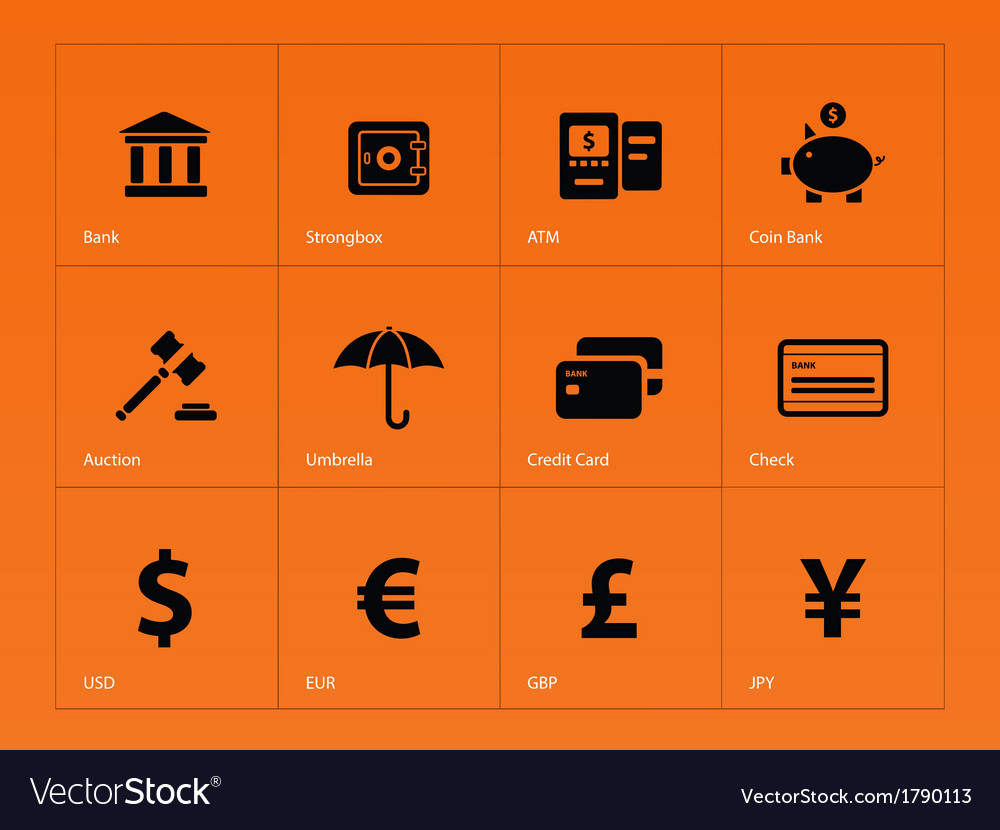 Banking icons on orange background vector | Price: 1 Credit (USD $1)