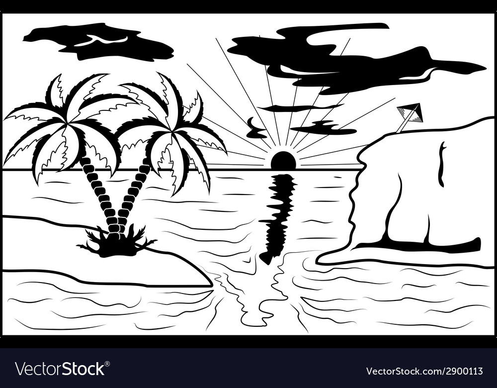 Black and white tropical landscape vector | Price: 1 Credit (USD $1)