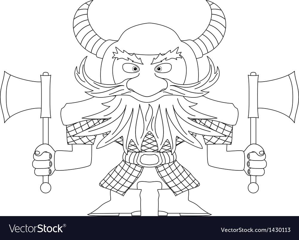 Dwarf warrior contour vector | Price: 1 Credit (USD $1)