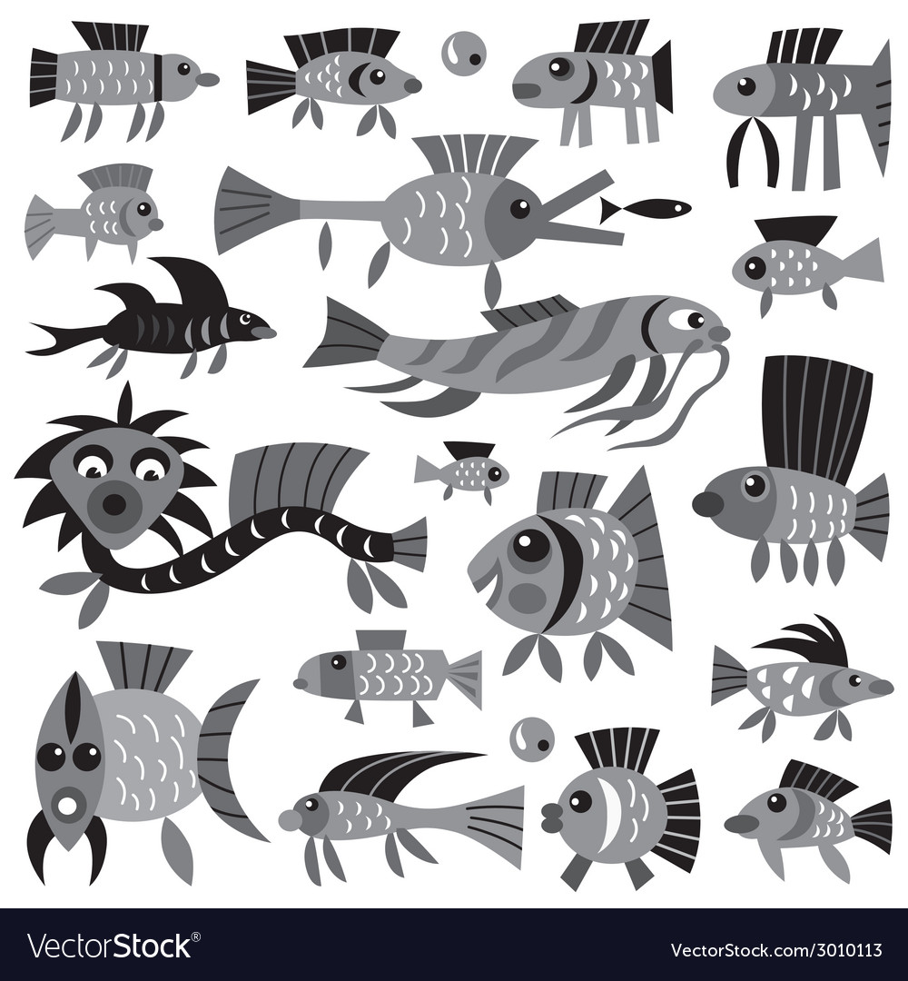 Fishes - cartoons set vector | Price: 1 Credit (USD $1)