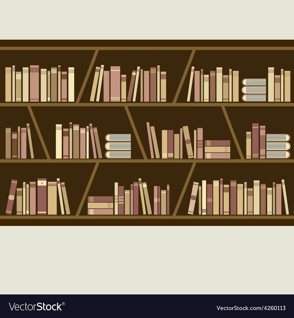 Flat design brown bookshelf vector | Price: 1 Credit (USD $1)