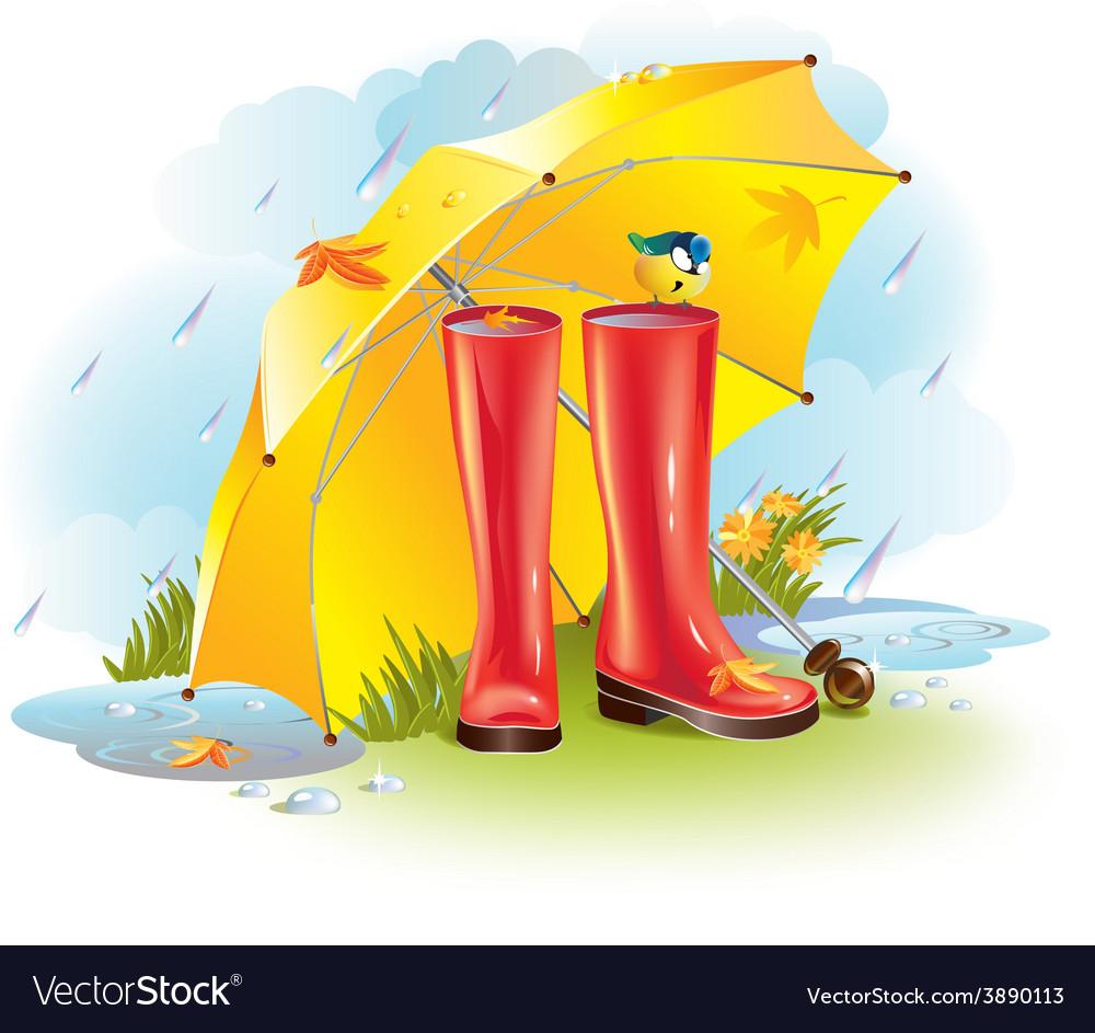 Gumboots under umbrella vector | Price: 1 Credit (USD $1)