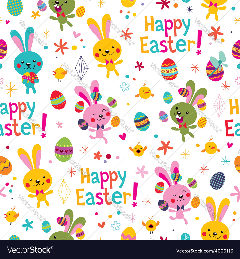 Happy easter pattern vector | Price: 1 Credit (USD $1)