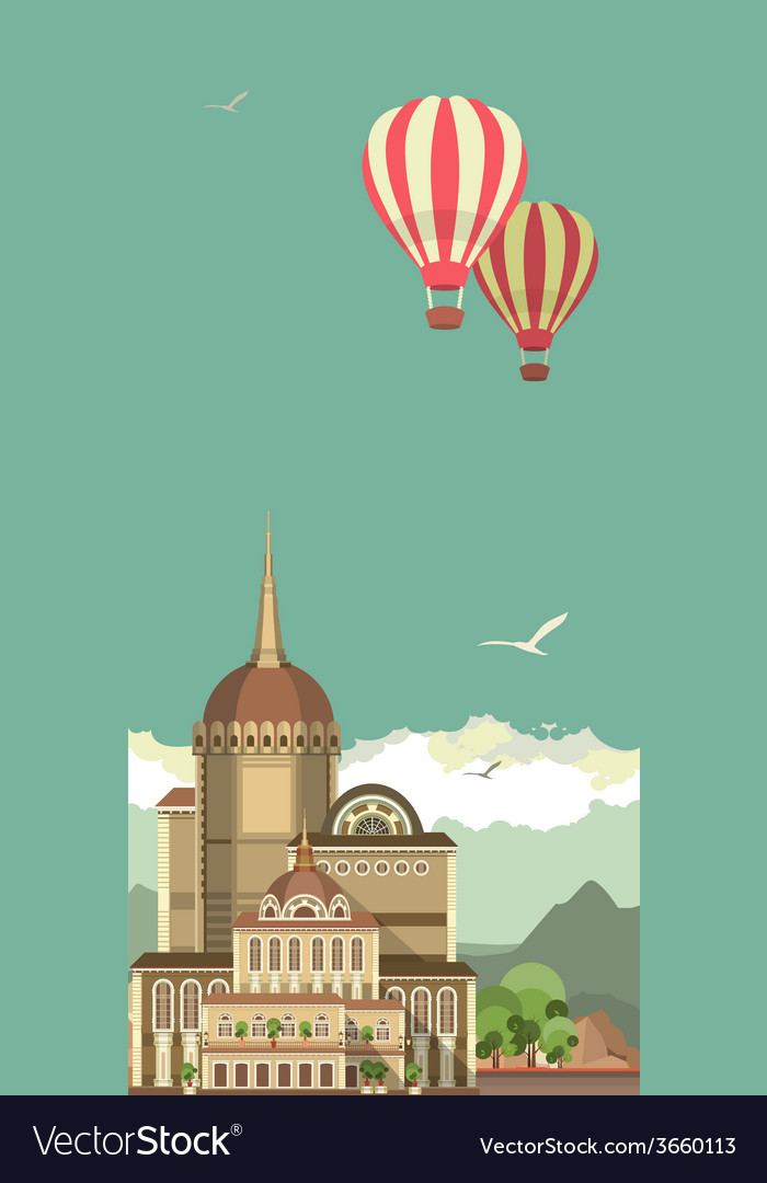 Hot air balloon in sky over the castle vector | Price: 1 Credit (USD $1)