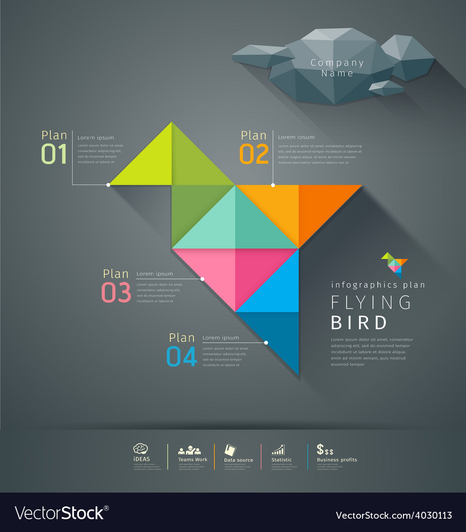 Origami colorful paper flying bird infographic vector | Price: 3 Credit (USD $3)