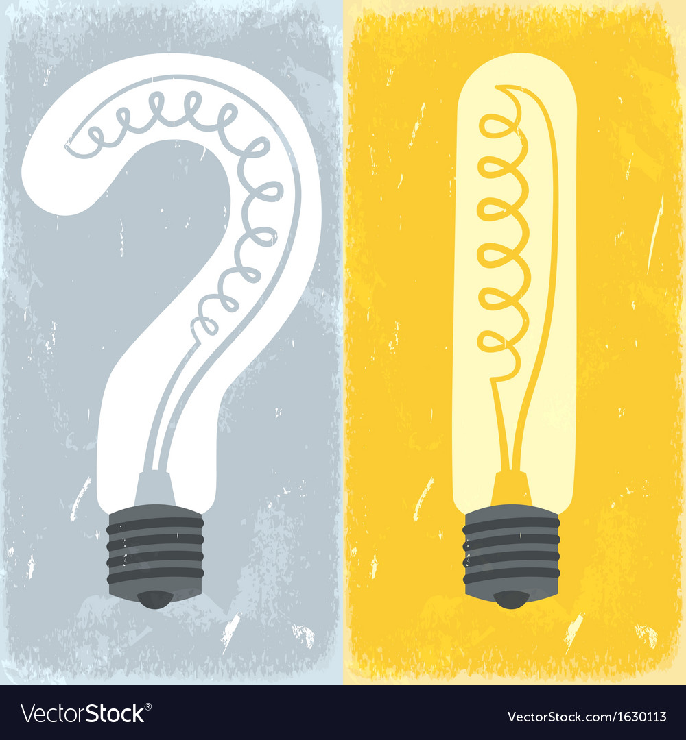 Question mark and exclamation mark lightbulbs vector | Price: 1 Credit (USD $1)