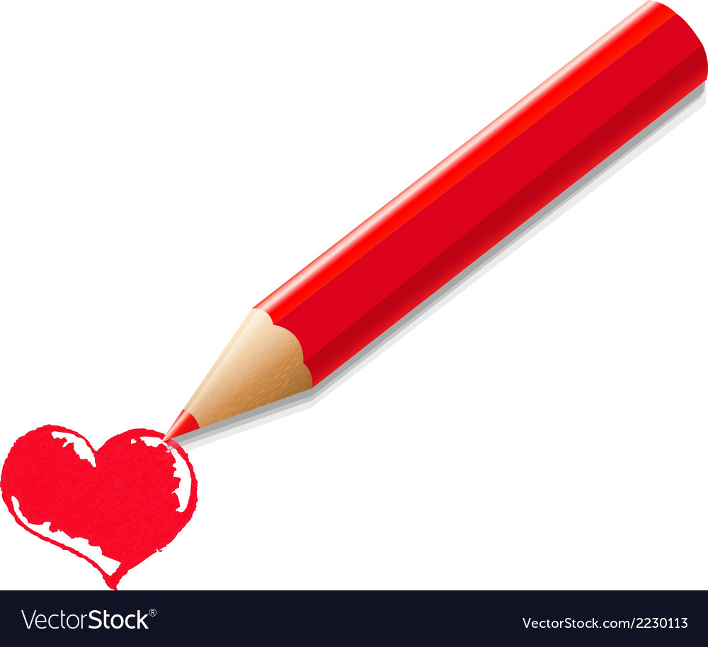 Red pencil with heart vector | Price: 1 Credit (USD $1)