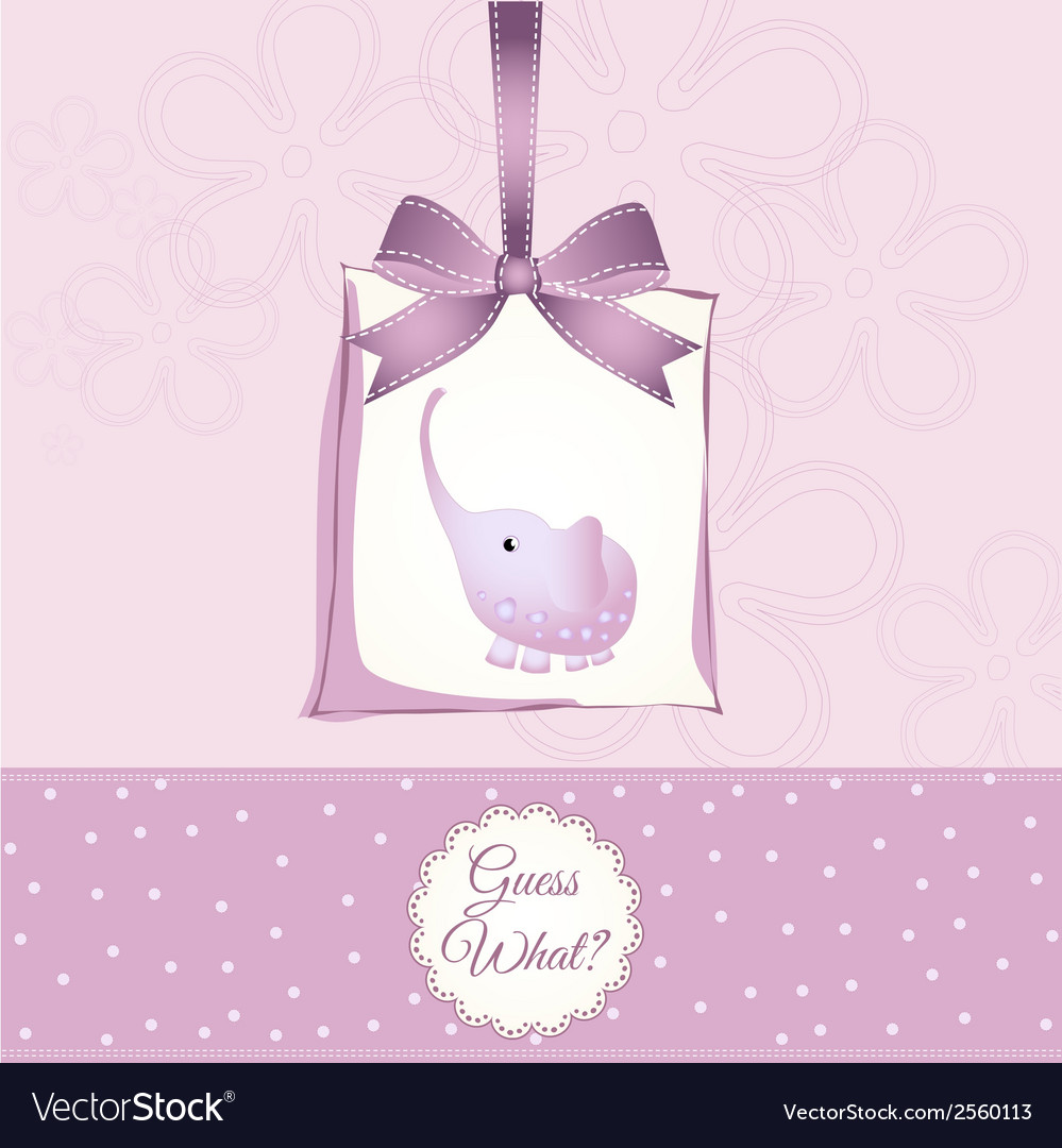 Romantic baby girl announcement card vector | Price: 1 Credit (USD $1)