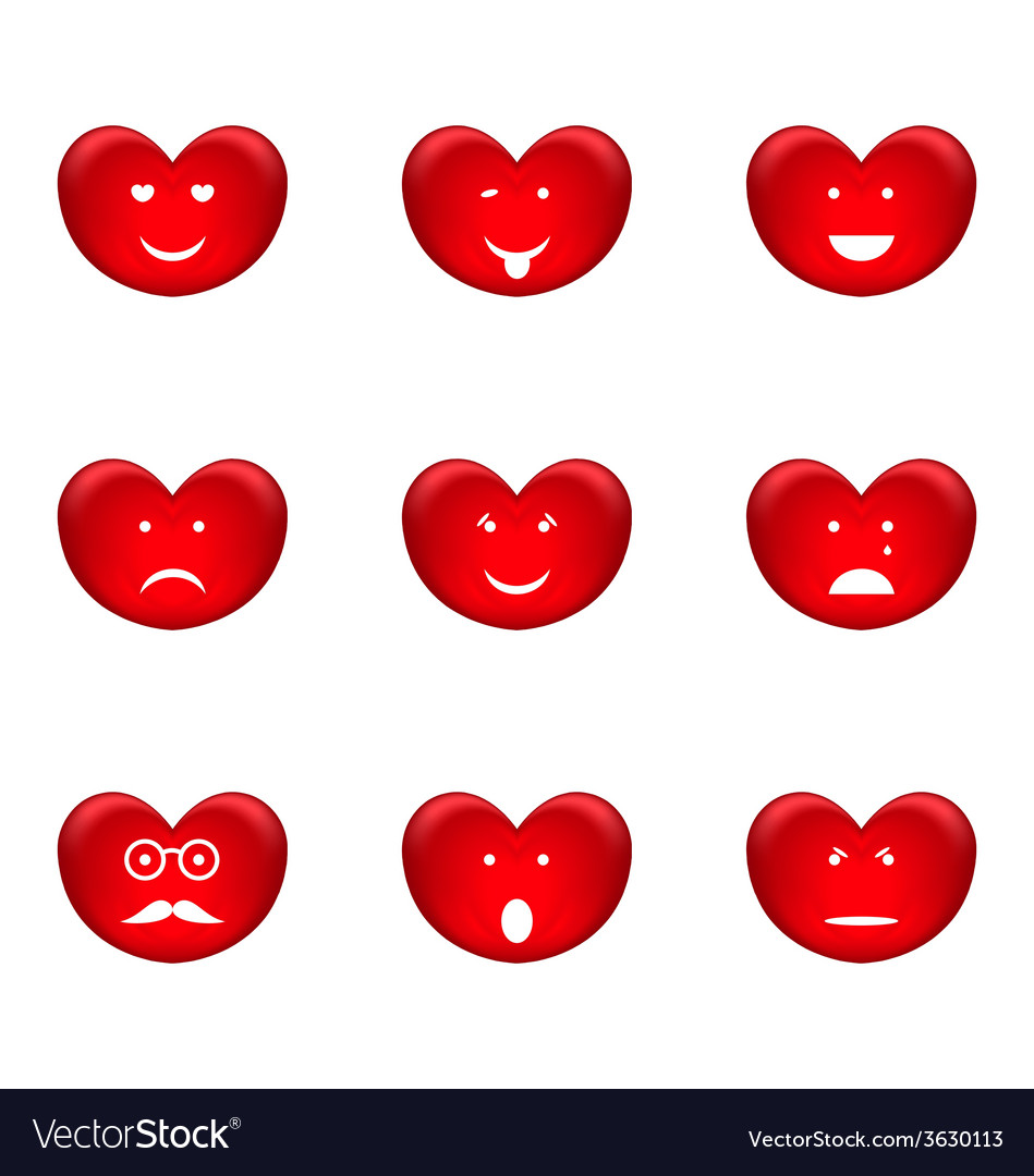 Set of smiles of heart shape with many emotions vector | Price: 1 Credit (USD $1)